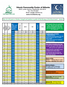 Revised Ramadan Time schedule - Islamic Community Center of